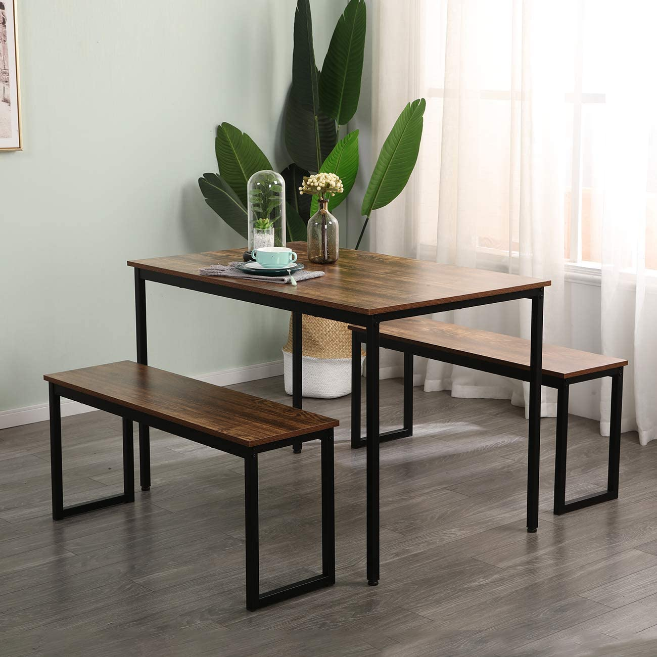 SogesPower 3 mart Piece Dining Table with Set 2 35% OFF Benches