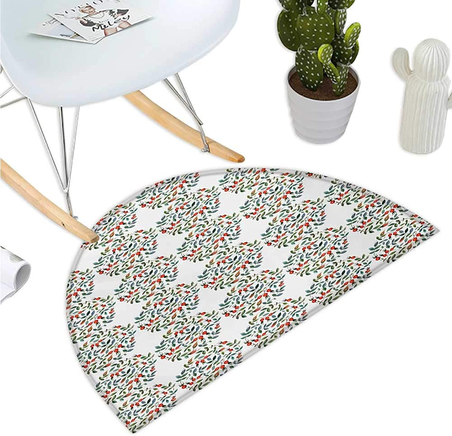 Nature Semicircular Cushion Watercolor Painting Style Berry Fruit and Green Leaves in Circles Romantic Rustic Entry Door Mat H 39.3  xD 59  Multicolor