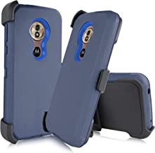 Compatible Motorola Moto G6 Forge/ G6 Play 2018 (XT1922) [Four Layered Protection] Heavy Duty Defender Holster Armor Tough Case Rotating Belt Clip & Built in Screen Protector (Navy Blue)