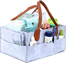 Baby Diaper Caddy Organizer – Large Portable Diaper Bag for Changing Table and Car - Nursery Essentials Storage Bins - Baby Registry Gifts - Bonus Pacifier Clips (Grey)