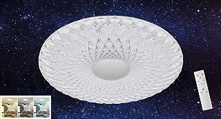 Briloner Leuchten - Lámpara LED de techo (intensidad regulable, control de temperatura de color, luz nocturna, mando a distancia, incluye temporizador, transparente, diámetro de 51 cm, 60 W)