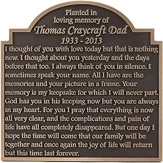 Garden Memorial Plaque 16x16 - Raised Bronze Patina Coated
