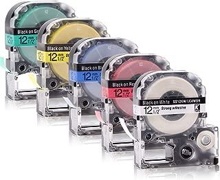 Labelwell 0.47 12mm x 8m Negro sobre Transparent Compatible Epson LC-4TBN LC-4TBN9 ST12KW Cinta de Etiquetas para Epson LabelWorks LW-300L LW-400 LW-600P LW-500 LM-700 LW-900P LW-300P LW-1000P