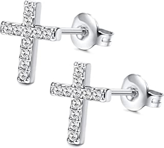 18K Plated Cross Stud Earrings Made with Swarovski Crystals Tiny Stud Earrings For Women Men