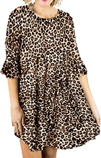 〓VigorY〓 Women's Retro O Neck Tassel Bohemian Midi Dresses Long Sleeve Floral Printed Casual Swing T-Shirt Dress