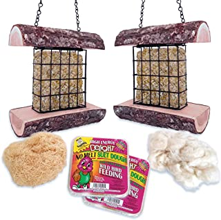 Mac's Double Suet Wild Bird Feeder, All Natural Wood, Made in The USA - Includes Nesting Material and Suet Cake