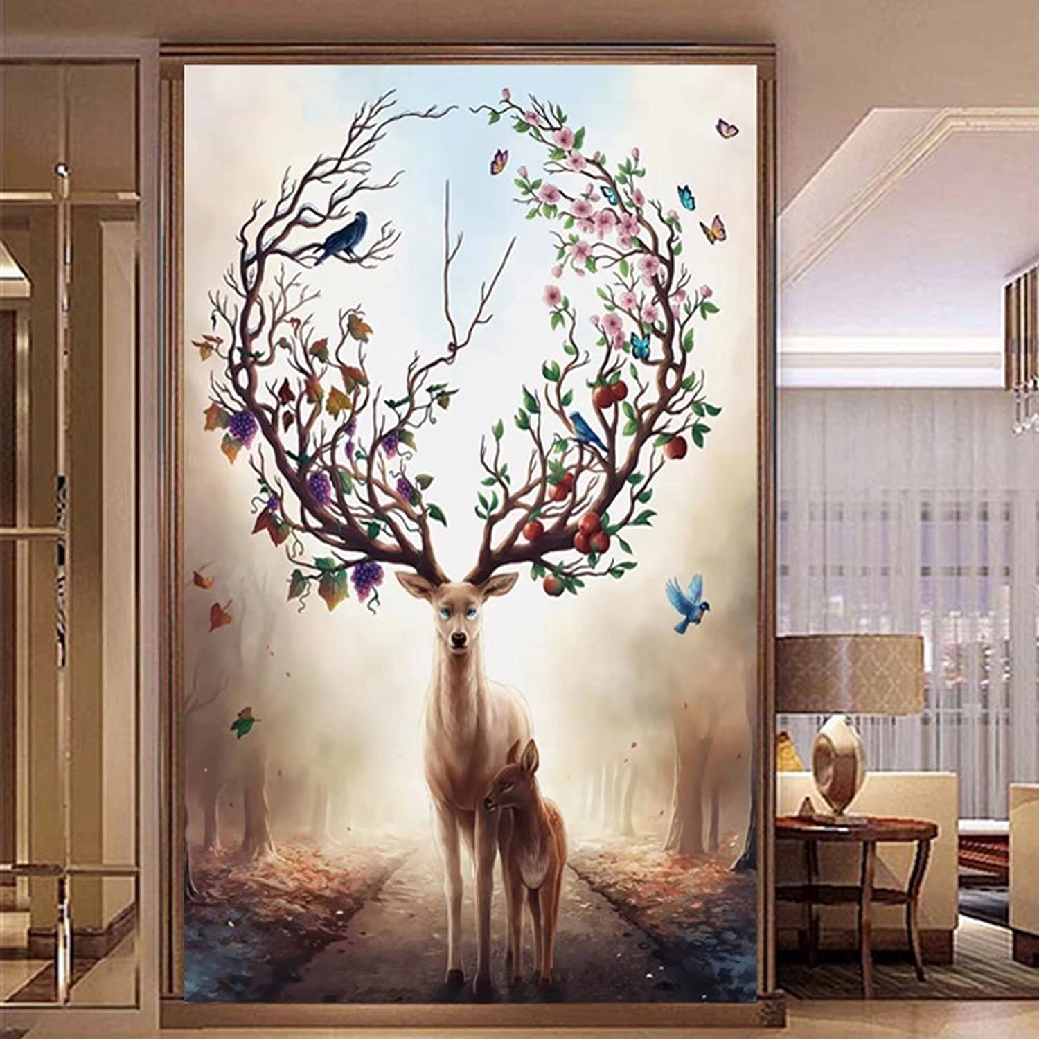 DIY 5D two elk Diamond Painting By Numbers Kits Full Drill Diamond Mosaic Embroidery Rhinestone Crystal Cross Stitch Kits Home Decor, Without Frame