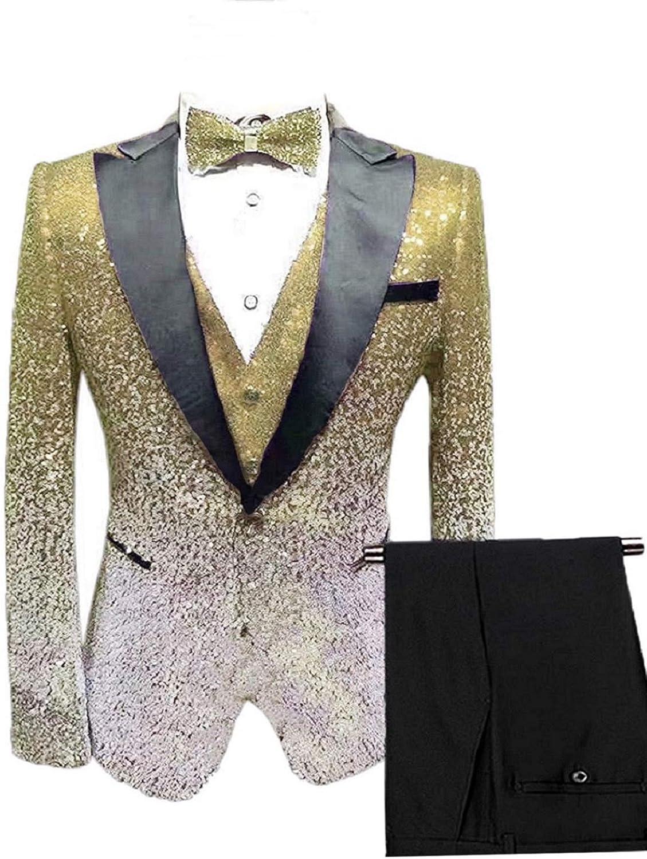 Everbeauty Slim Fit Suits for Men 3 Piece Shiny Sequins Suit Jacket Blazer One Button Tuxedo for Prom EXZ020