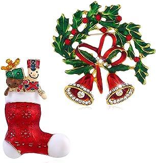 Chamqueen 2 قطعة المينا عيد الميلاد الجورب جرس بروش دبوس عيد الميلاد بروش مجموعة للعائلة شجرة عيد الميلاد دبوس بروش الديكور