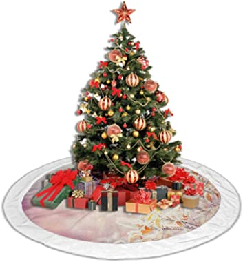 Winter Soft Christmas Tree Mat Snow Branches Tree Leaves Snowflakes Holiday Christmas Theme November Nature Christmas Tree Ho