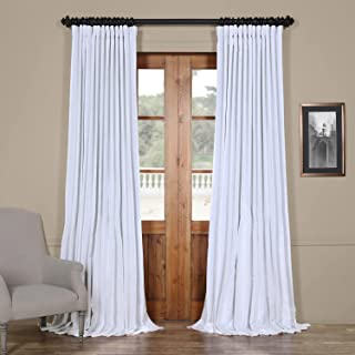 HPD Half Price Drapes PDCH-KBS1BO-96-DW Blackout Extra Wide Vintage Textured Faux Dupioni Curtain (1 Panel), 100 X 96, Ice