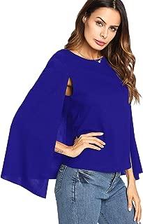 Romwe Women's Elegant Cape Cloak Sleeve Round Neck Party Top Blouse