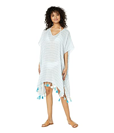 Seafolly Bali Hai Linen Stripe Kaftan Cover-Up (Inka Blue) Women