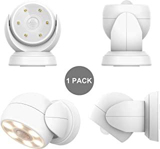 HONWELL Motion Sensor Light Outdoor Battery Operated Wireless Waterproof Spotlight Motion Security Night Light, Light Sensor Auto On Off for Porch Stair Ceiling Hallway Garage Wall Shed Patio (1Pack)