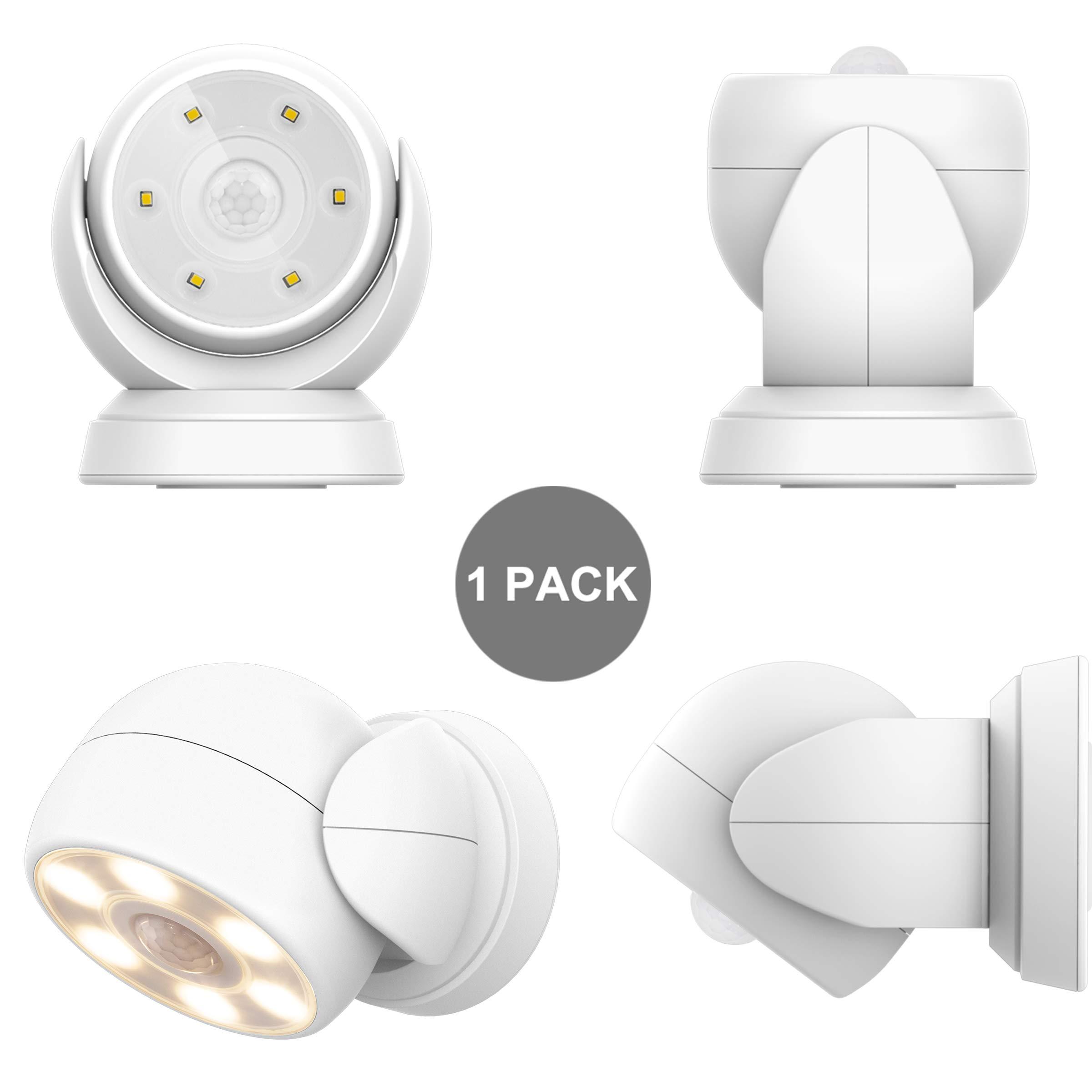 HONWELL Luz Foco LED a Pilas con Sensor de Movimiento, Exterior Impermeable Luz de Seguridad,6 LEDs, 200 Lúmenes Foco Inalámbrico LED con Movimiento Activado Sensor para Entradas,Porche,Garaje-Blanco: Amazon.es: Iluminación