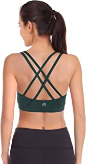Zeronic Women's Padded Sports Bra Cross Back Removable Cups Workout Clothes Yoga Sports Bras