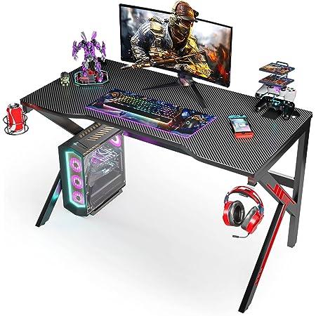 Scrivania Gaming 120CM, SIMBR Scrivania PC Computer a Forma di K, Grande Scrivania Gaming Desk per Laptop da Gioco e PC da Uffici, con Supporto per controller,Portabicchieri e Gancio per Cuffie