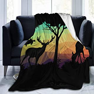 """Fleece Blanket 50"""" x 60""""-Deer Poly Nature Home Flannel Fleece Soft Warm Plush Throw Blanket for Bed/Couch/Sofa/Office/Camping"""