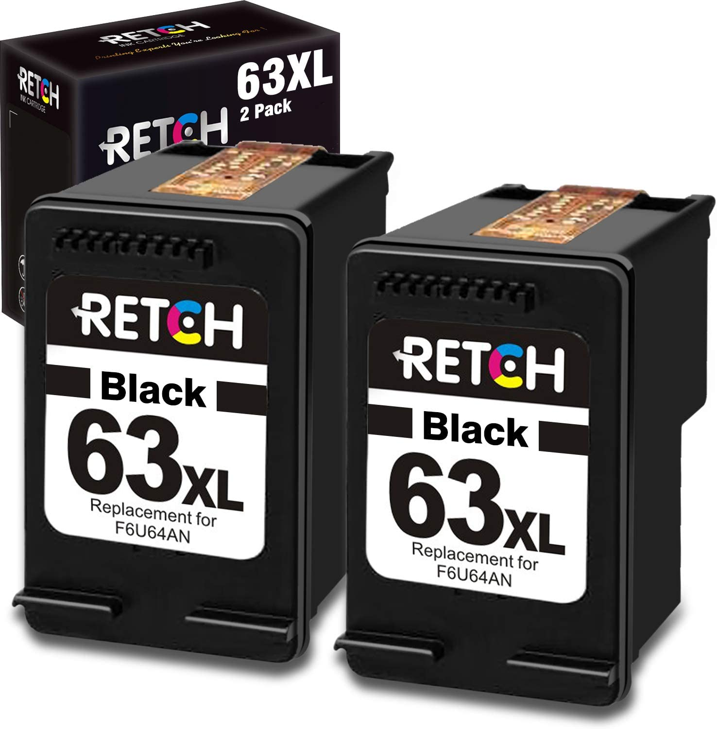 RETCH Remanufactured Inkjet Printer Ink Cartridges Tray Replacement for HP 63XL F6U63AN for Envy 4520 4516 Officejet 5255 5258 5220 3830 4650 3831 3833 4655 DeskJet 1112 3630 3632 3633 3634 2130 2132