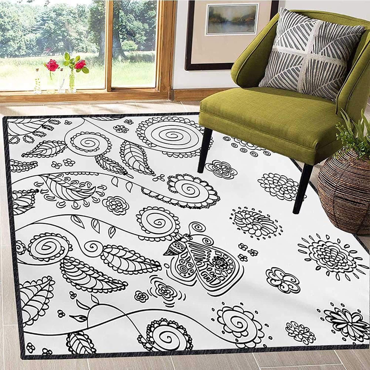 Floral, Door Mats for Inside, Doodle Style Circular Swirled Flower Petals Butterfly Leaves Curved Branches Design, Door Mat Increase 6x8 Ft Black White