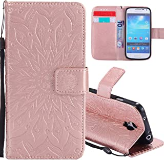 HMTECH Samsung Galaxy S4 Mini case Sun Flower Embossed Floral Wallet Case with Card Slots Kickstand PU Leather Flip Stand Cover for Samsung Galaxy S4 Mini KT Mandala Rose Gold