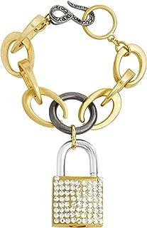 Steve Madden Women's Polished Rhinestone Lock Design Charm Link Tri-Tone Bracelet