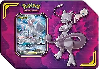 Pokemon TCG: Tag Team Mewtwo & Mew Tin + 4 Booster Pack + 1 Metal Tag Team Gx Marker + 1 of 3 Foil Tag Team Pokémon-GX