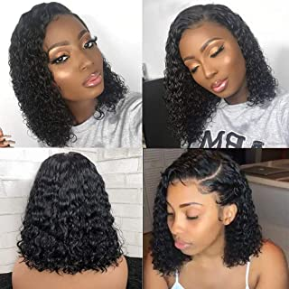 Glueless 360 Lace Frontal Wigs Human Hair with Baby Hair Pre Plucked Natural Hairline Full Lace Wigs for Black Women Brazilian Water Wave 360 Lace Wigs Unprocessed Remy Human Hair Wet and Wavy Wigs