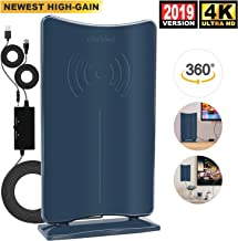 HDTV Antenna Indoor,Digital TV Antenna 2019 Upgraded with Amplifier Signal Booster,60-120 Miles Long Range Support 4K 1080P & All Older TV's HDTV Channels w/Low Error Rate