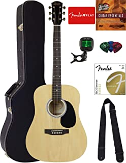 Fender Squier Dreadnought Acoustic Guitar - Natural Bundle with Hard Case, Tuner, Strap, Strings, Picks, and Austin Bazaar Instructional DVD