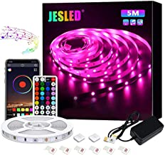 JESLED Bluetooth LED Strip Lights, 16.4ft/5M RGB Lights Strips with 44 Keys IR Remote Controller for Bedroom,TV, Party, Ho...