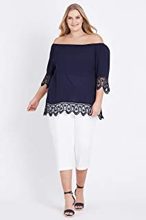 Beme 3/4 Lace Sleeve and Hem Top Navy 24 - Womens Plus Size Curvy