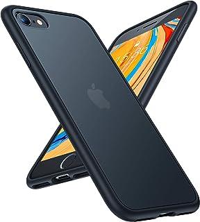 TORRAS Shockproof Compatible for iPhone SE 2020 Case & Compatible for iPhone 8 Case [Military Grade Drop Test] Translucent Matte Hard Back & Soft Bumper Slim Case for iPhone 7/8/SE 2nd, Black