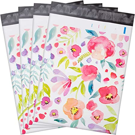 100 Pcs Poly Mailers,10x13 Package Envelopes,Cute Packaging Bags,Plastic Custom Mailing Shipping Bags with Self Seal Adhesive Strip - Floral Patterns