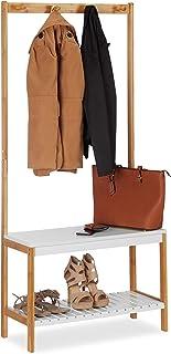 Relaxdays Portemanteau banc à chaussures, 4 crochets vestes, Meuble entrée, bambou et MDF, 150x70,5x30 cm, nature-blanc, T...