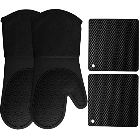 HOMWE Silicone Oven Mitts and Pot Holders, 4-Piece Set, Heavy Duty Cooking Gloves, Kitchen Counter Safe Trivet Mats, Advanced Heat Resistance, Slip-Resistant Textured Grip, Black
