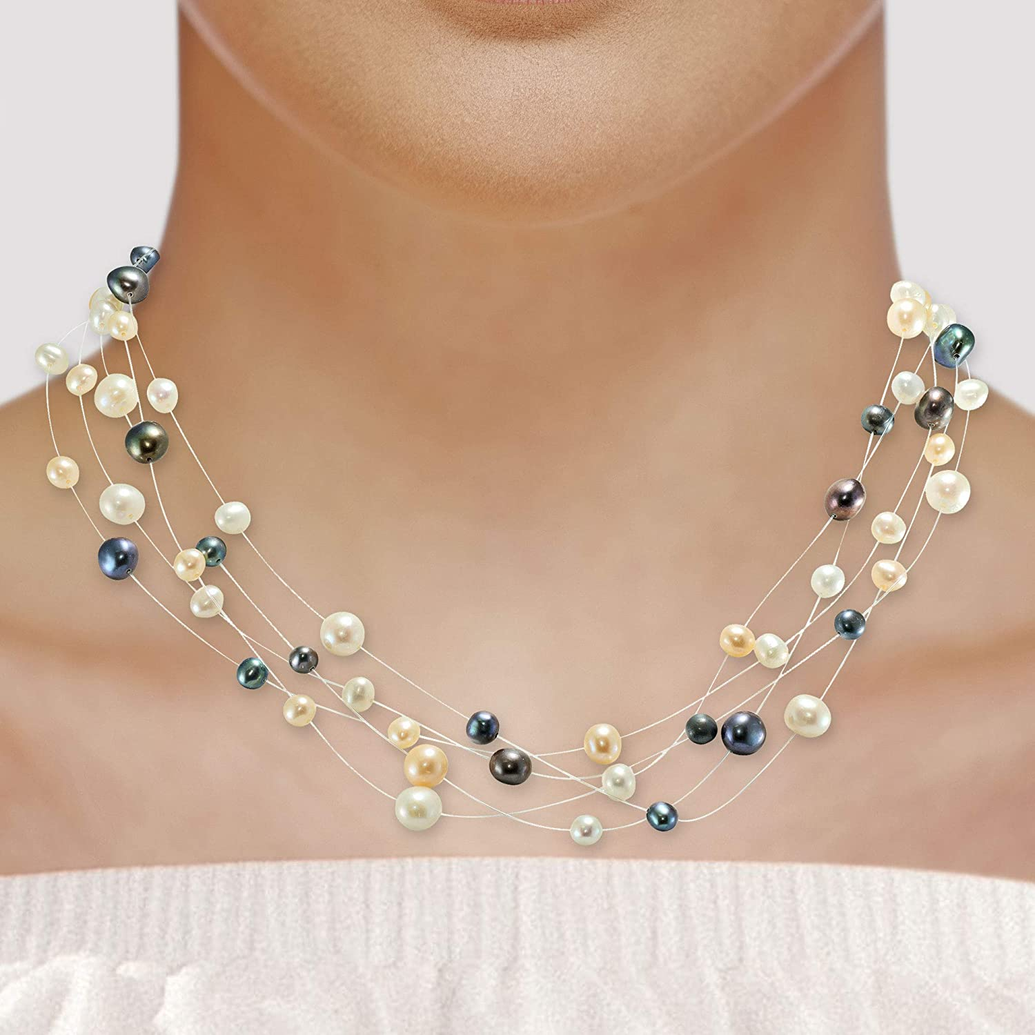 14 Karat Yellow Gold Multi Color Freshwater Pearl 16 Inch Necklace, Multi Strand Design with Spring Ring Clasp Lock