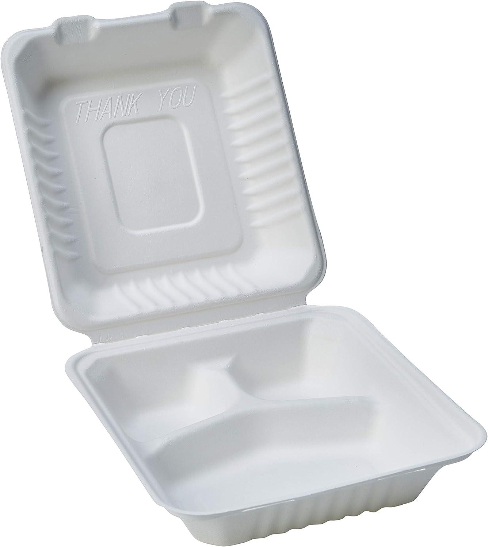 Amazon Basics - Recipientes de comida desechables, diseño de almeja, con bisagras, convertibles en abono ecológico y biodegradables, 3 compartimentos, 22 x 22 x 8 cm, 25 unidades
