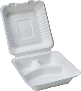"""Amazon Basics Compostable 3-Compartment Clamshell Hinged Food Container, 8"""" x 8"""" x 3"""", Pack of 50"""