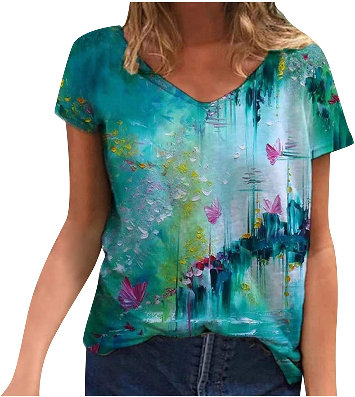 FABIURT Shirts for Women Under 10 Dollars Womens T Shirt Casual Cotton Short Sleeve V-Neck Graphic T-Shirt Tops Tees Light Blue