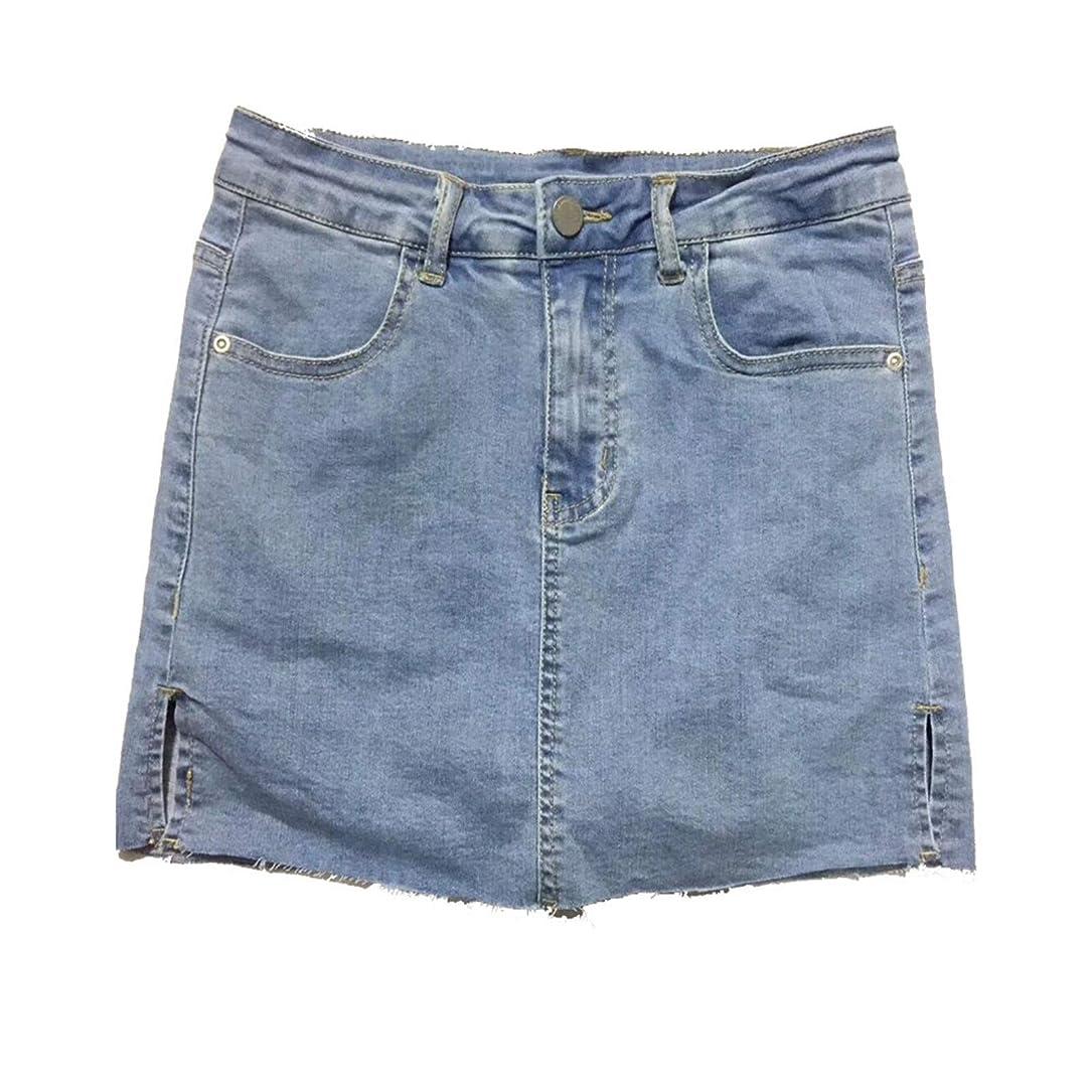熱心始める散文デニムスカート ヨーロッパやアメリカのハイウエストデニムスカートの夏サイドスリットスリムスリミングデニムスカートパンツスカート 美脚効果 使い回し 抜群 (Color : Blue, Size : Large)
