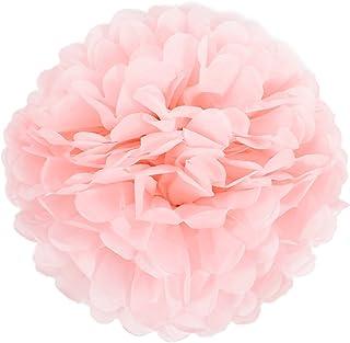 10er Set 20cm 25cm Papier Pom Poms Seidenpapier Pompom Dekoration für Party Hochzeit Deko 25cm, Rosa