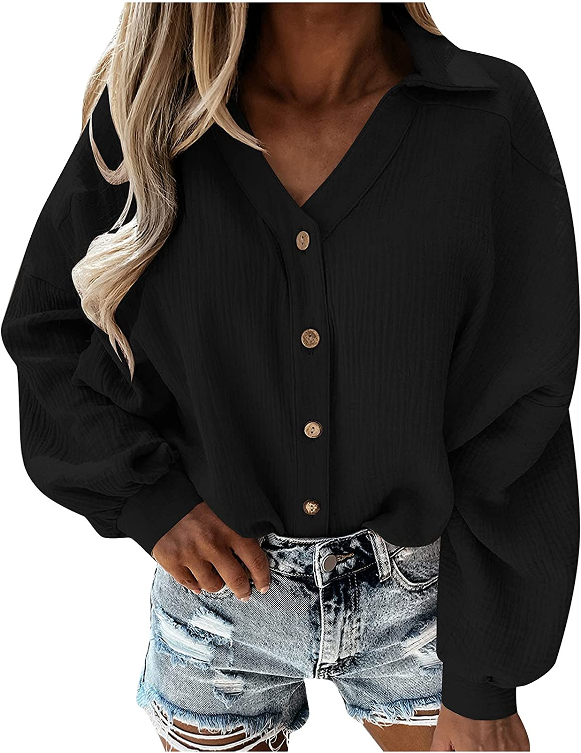 Shirts for Women Casual Solid Lantern Long Sleeve T-Shirts Tops V-Neck Buttons Cardigan Tunic Tops