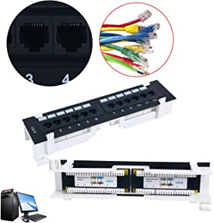 Cat6 12 Port RJ45 Patch Panel UTP LAN Network Adapter Cable Connector Wall Mount Surface Patch Panel