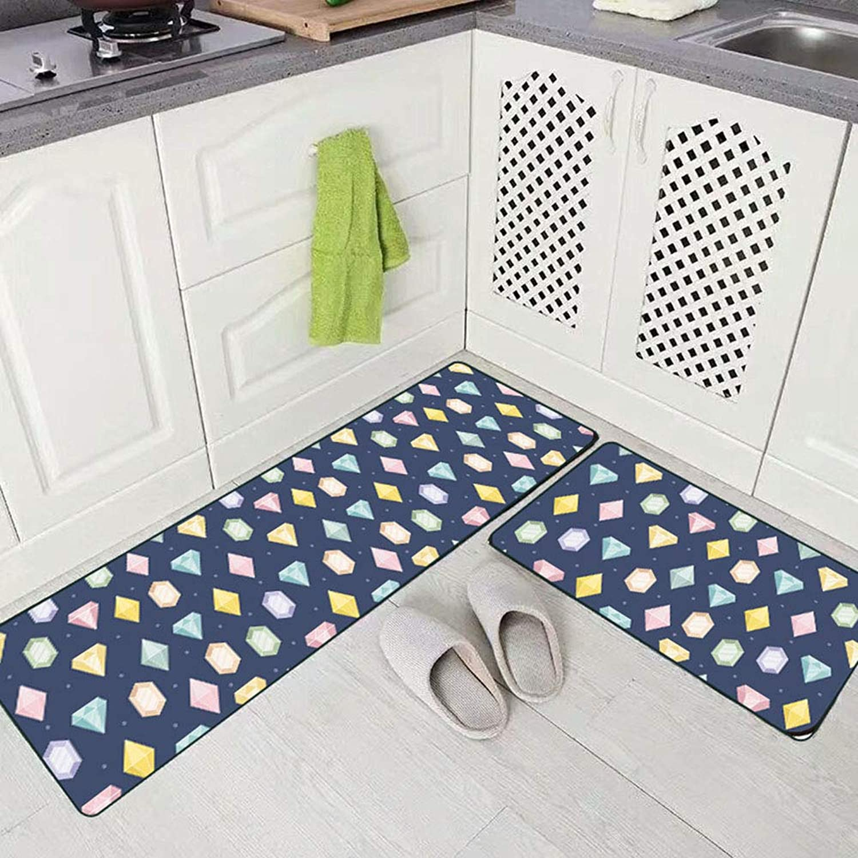 Washable Modern Cute Cartoon Diamond Kitchen Non-Slip Floor Mats Crystal Velvet Anti Skid Area Rugs Carpets for Bathroom Bedroom Hallway Home Decor,1pc50×160cm