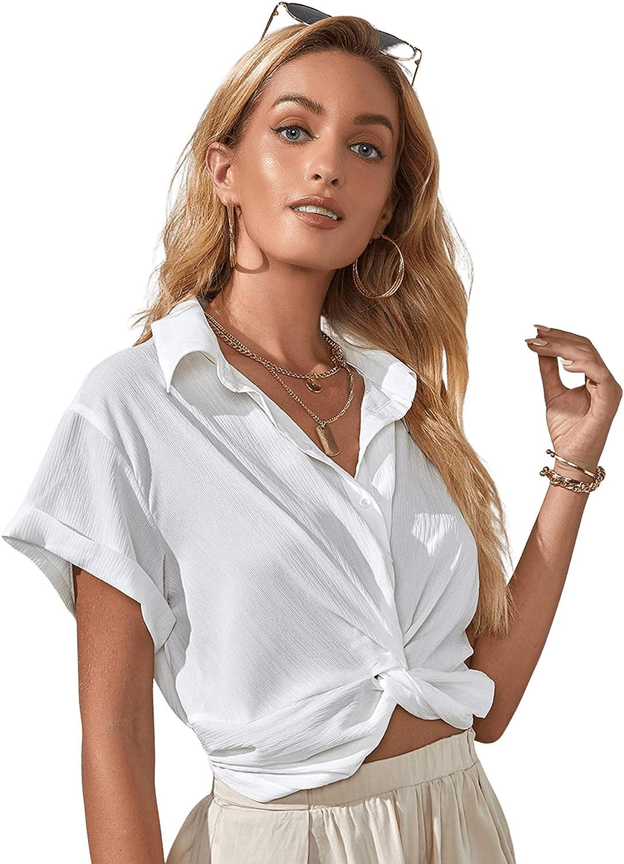 Milumia Women's Twist Front Button Down Crop Top Short Sleeve Collared Shirt Blouse