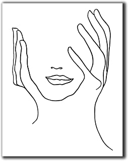 "Abstract Minimalist Line Wall Decor - 11x14"" UNFRAMED Print - Modern, Minimal, Black And White Drawing - Female Face And H..."