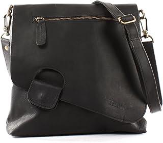 LECONI Umhängetasche Damen-Tasche Crossbag Rinds-Leder Natur Schultertasche Vintage-Look Ledertasche Frauen + Herren Handt...