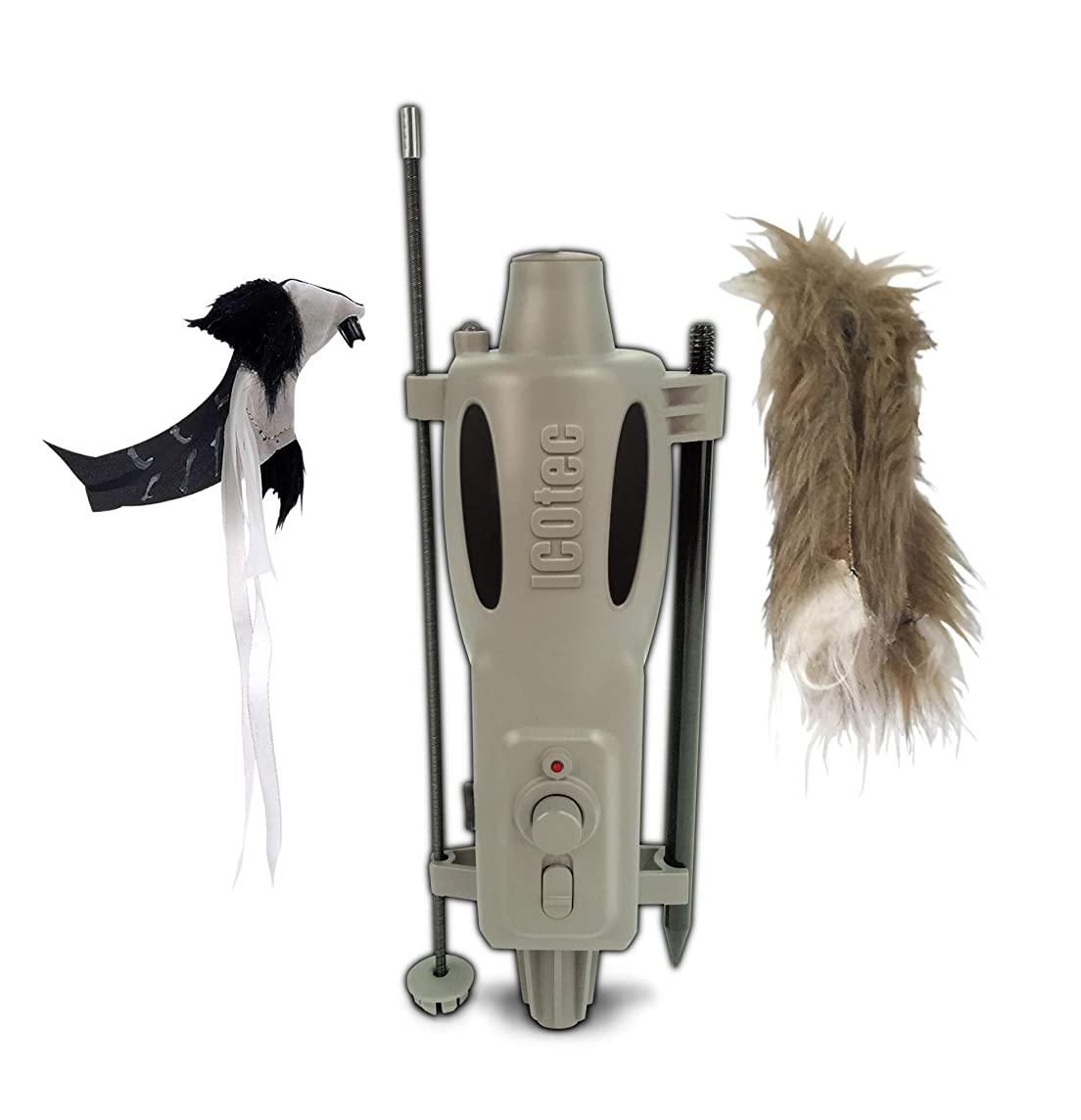 Icotec PD200 Stand Alone Predator Decoy – Lightweight, Compact, and Quiet – Includes Speed Dial, Intermittent Motion, LED Lights, and 2 Quick Change Toppers