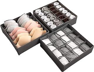 Bra Underwear Drawer Organiser Set of 3 Flodable Drawer Organiser Collapsible Closet Divider for Socks Neck Ties Scarves